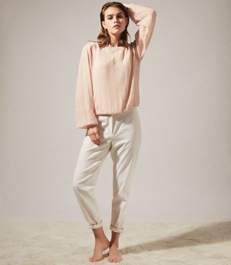 Reiss MARLENA SEMI SHEER BLOUSE Blush