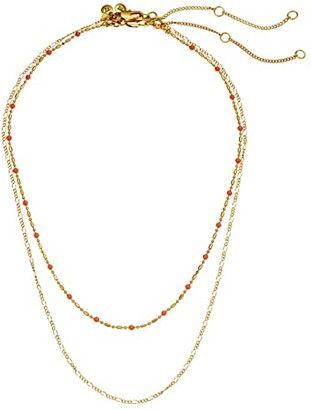 Madewell Delicate Enamel Necklace Set (Neon Coral) Necklace