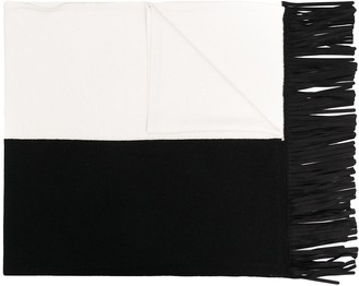 D-Exterior Two-Tone Fringed Scarf