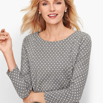 Talbots Zip Pocket Jacquard Top - Sparkle Dot