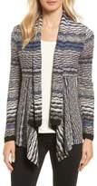 Nic+Zoe Shaded Stripe Drape Front Cardigan