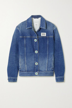 Burberry Appliqued Bead-embellished Denim Jacket - Blue