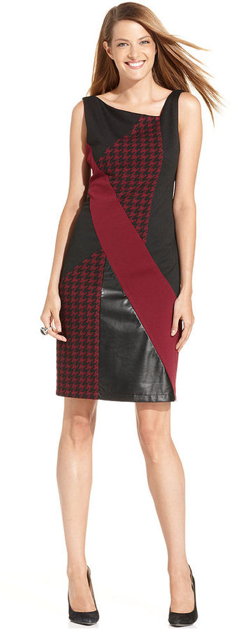 NY Collection Dress, Sleeveless Colorblock Faux-Leather Sheath