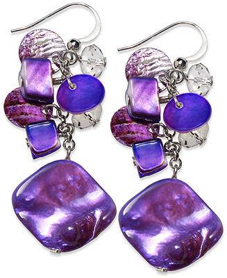 Style&Co. Earrings, Rhodium-Plated Purple Shell Cluster Linear Drop Earrings