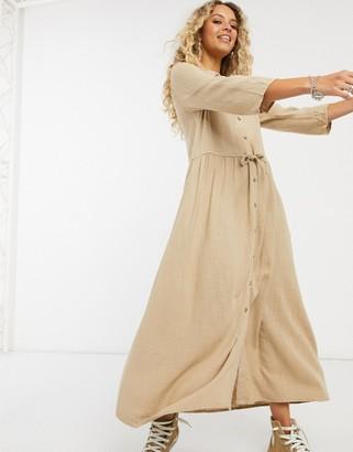 Vila tie waist midi dress in tan