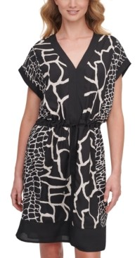 DKNY Mixed-Print V-Neck Dress