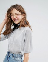 Monki Mesh Metallic Boxy Top