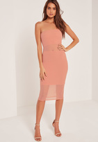 Missguided Bandeau Mesh Panel Midi Dress Pink