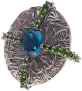 Stephen Dweck London Blue Topaz & Chrome Diopside Stripe Ring - Size 7