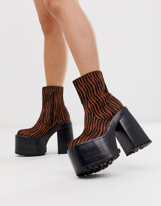 Jeffrey Campbell Deadz super platform boot in tiger print leather-Multi
