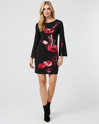 Le Château Floral Print Knit Boat Neck Tunic Dress