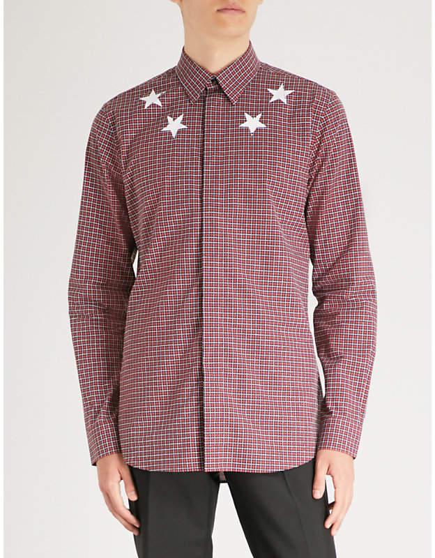 Givenchy Checked star-print regular-fit cotton shirt