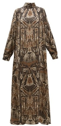 Edward Crutchley Raja-print Long-sleeved Silk Maxi Dress - Womens - Brown Multi