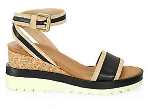 See by Chloe Women's Robin Colorblock Leather Platform Wedge Sandals