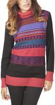 Yuka Paris Black & Pink Stripe Ribbed Turtleneck