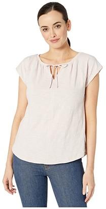 Lilla P Short Sleeve Split-Neck Loose Knit Slub Top (Mist) Women's T Shirt