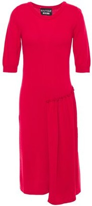 Boutique Moschino Asymmetric Gathered Paneled Knitted Dress