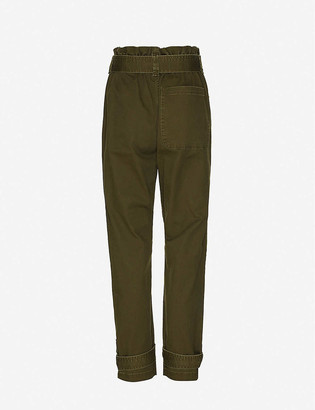 Happy X Nature Amelia paperbag waist high-rise tapered stretch-twill trousers