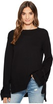 1 STATE 1.STATE - Long Sleeve Crewneck Sweater w/ Sleeves Cuff Ties Women's Sweater