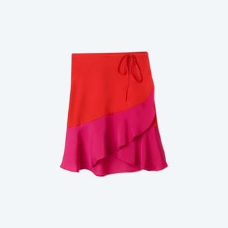 Summersalt The Short Beach to Brunch Wrap Skirt - Lava & Hibiscus