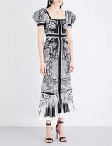 Alexander McQueen Paisley-print puff-sleeve silk crepe-de-chine gown