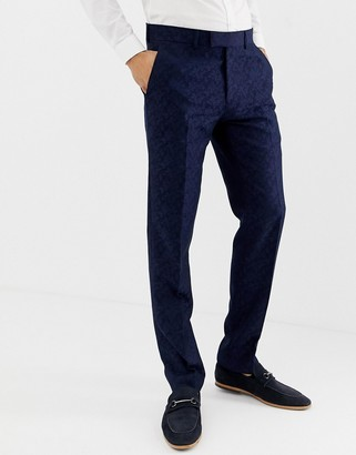 Farah Hookstone party skinny suit trousers in floral jacquard