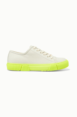 both Neon Leather Sneakers - White