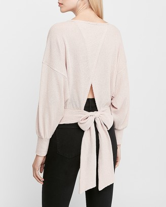 Express Sash Tie Wrap Back Long Sleeve Top