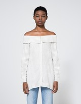 Tibi Frederic Striped Off Shoulder Top