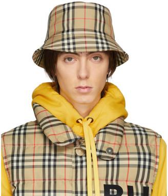 Burberry Beige Vintage Check Bucket Hat