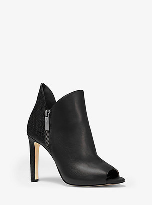 Michael Kors Alane Leather and Python Embossed Open-Toe Ankle Boot