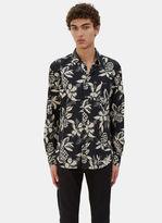 Saint Laurent Men's Hibiscus Print Shirt In Navy