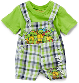 Children's Apparel Network TMNT Green Crewneck Tee & Plaid Shortalls - Infant