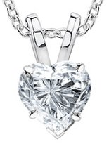 Houston Diamond District 2 Carat 14K White Gold Heart Diamond Solitaire Pendant Necklace Color SI1 Clarity