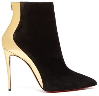 Christian Louboutin Delicotte 100 Suede And Leather Ankle Boots - Black Gold
