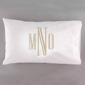 Generic Personalzied Raised Serif Monogram Pillowcase, Tan
