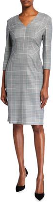 Escada Mixed-Check Wool-Silk 3/4-Sleeve Dress