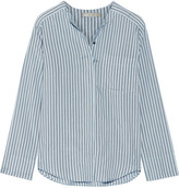Vince Striped Silk Shirt - Blue
