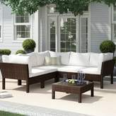 Birch Lane 6 Piece Rattan Sectional Seating Group with Cushions Heritage