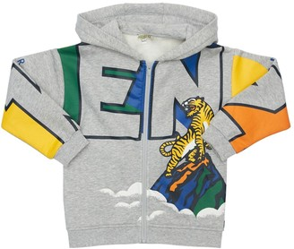Kenzo Kids Logo Cotton Blend Zip Sweatshirt Hoodie