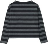Uniqlo Women Striped Cropped Mock Neck Long Sleeve T
