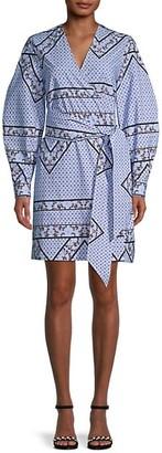Ganni Printed Puff-Sleeve Wrap Dress