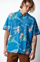 Brixton Lovitz Blue Short Sleeve Button Up Camp Shirt