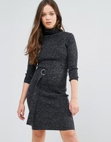 Brave Soul Roll Neck Sweater Dress With D-Ring Waist Detail