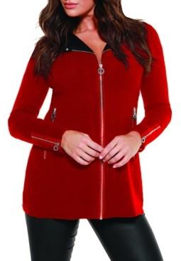 Belldini Black Label Women's Plus Size Moto Sweater Jacket