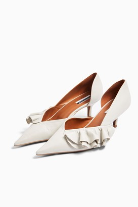 Topshop Womens Jostle Ivory Leather Frill Court Heels - Ivory