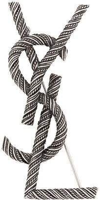 Saint Laurent Opyum monogram-plaque brooch