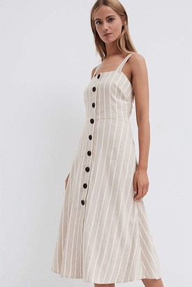 Witchery Stripe Button Dress