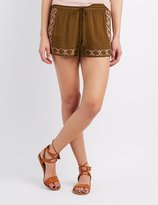 Charlotte Russe Embroidered Drawstring Shorts