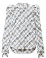 Veronica Beard Isabel Embroidered Checked Cotton-blend Top - Blue